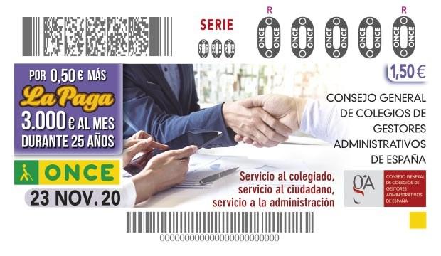 Presentación del cupón de la ONCE dedicado al Consejo General de Colegios de Gestores Administrativos de España.