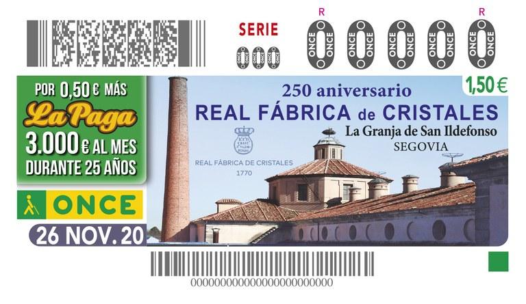 Presentación del cupón dedicado al 250 aniversario de la Real Fábrica de Cristales de la Granja de San Ildefonso (Segovia), con fecha de emisión 26 de noviembre