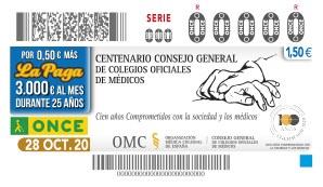 Presentación del cupón de la ONCE dedicado al Centenario del Consejo General de Colegios Oficiales de Médicos