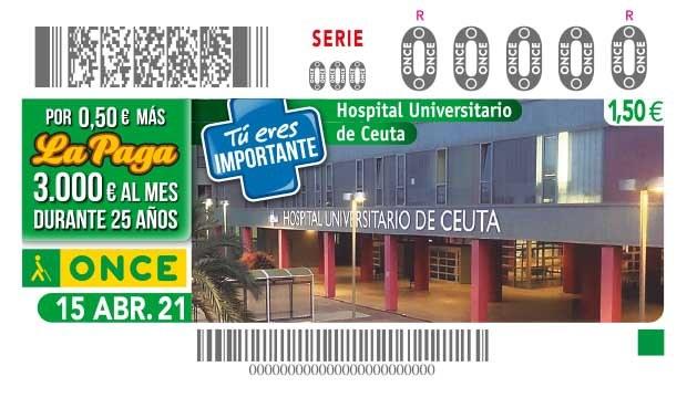 Presentación cupón ONCE dedicado al Hospital Universitario de Ceuta.