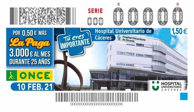 Presentación del cupón de la ONCE dedicado al Hospital Universitario de Cáceres