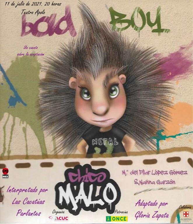"""La Agrupación Infantil de teatro de ONCE ALMERÍA """"Cacatúas Parlantes"""", estrena su obra """"CHICO MALO"""" que se celebrará el domingo, día 11 de julio, a las 20:00h, en el Teatro Apolo de Almería."""