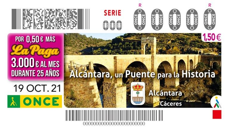 Presentación a la ciudadanía y a los medios de comunicación, el cupón dedicado al Puente de Alcántara (Cáceres)