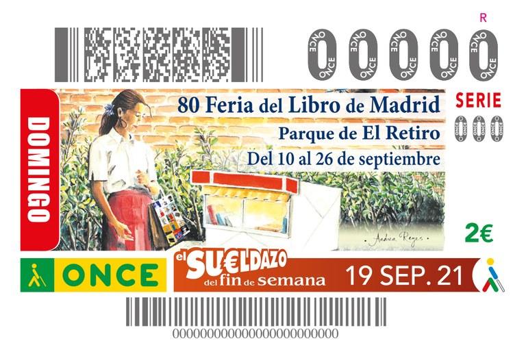 Cupón con el cartel de la Feria del Libro de Madrid